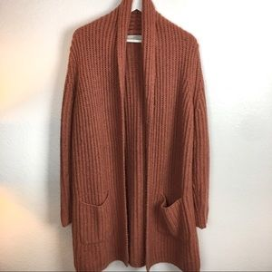 LOFT Chunky Knit Cardigan Duster Mohair Wool Rust
